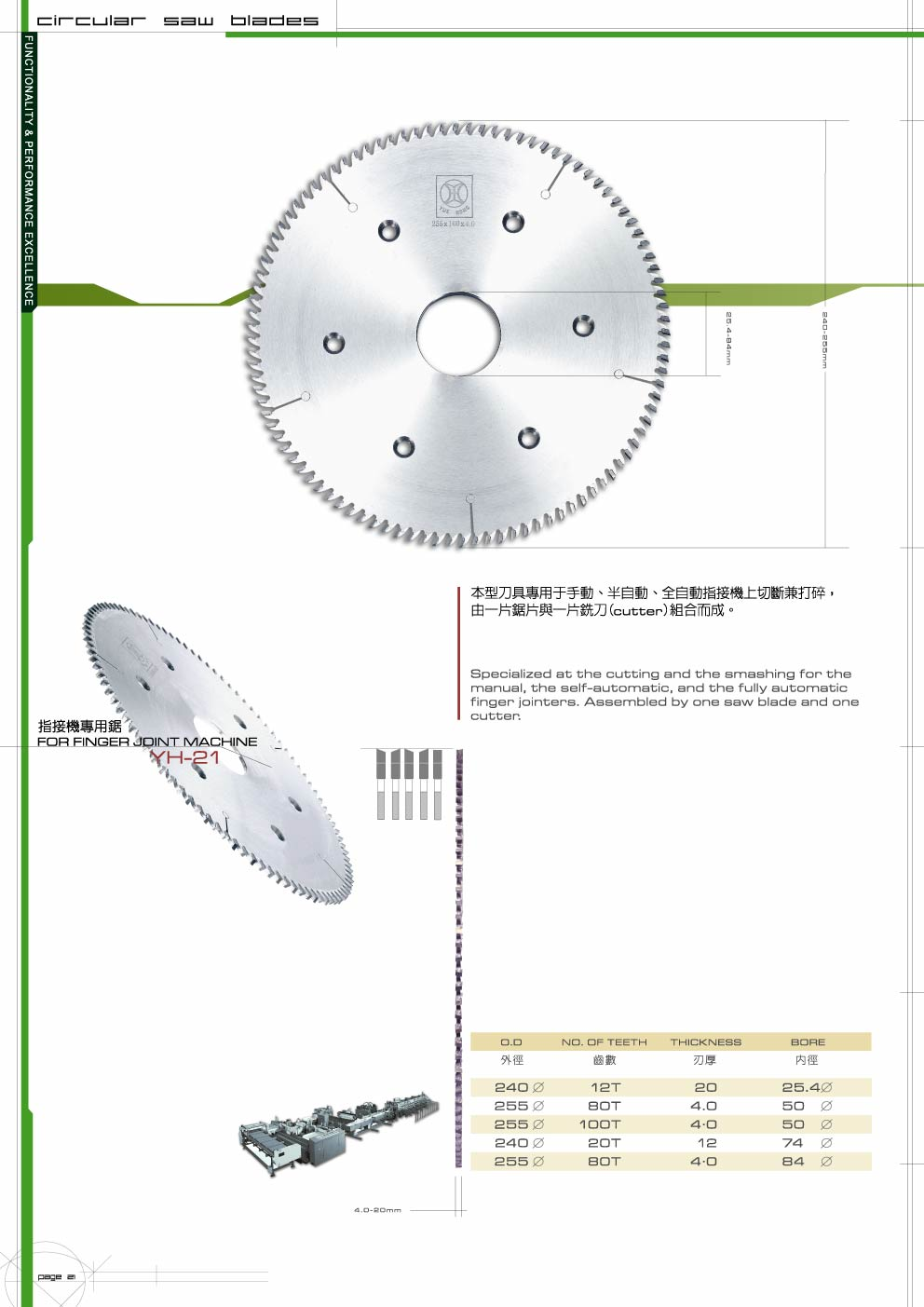 TCT Saw Blade for Finger Joint Machine